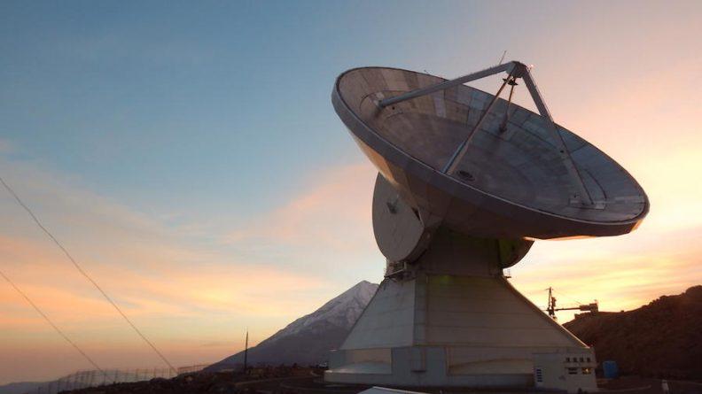 Telescope in Mexico at sunrise