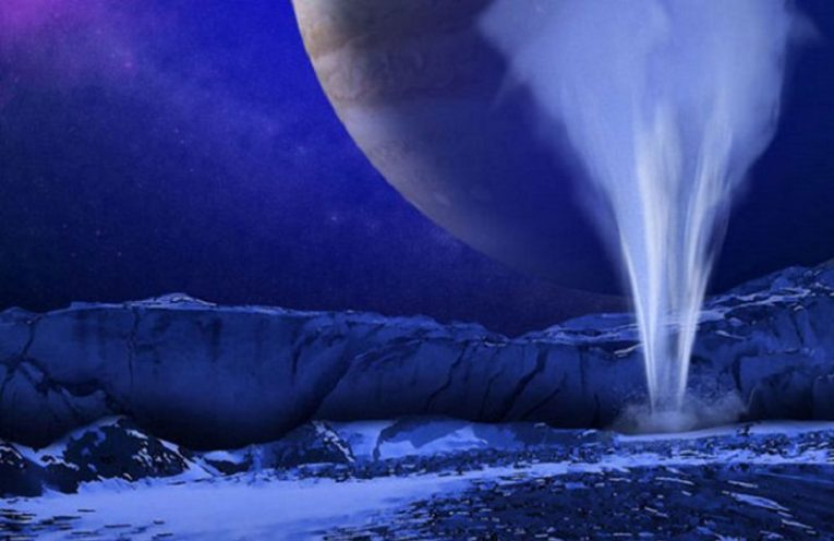 Artist's impression of a water vapor plume on Europa.