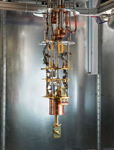 ICE CHIPS D-Wave's quantum chip must be cooled to temperatures near absolute zero using a dilution refrigerator