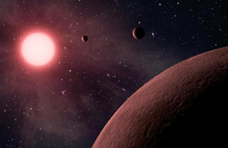 This artist's concept depicts a planetary system.