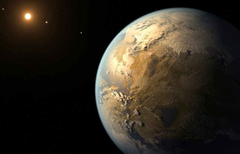 An artist's impression of a habitable exoplanet. Seasonal changes and the presence of disequilibrium gases in such a planet's atmosphere could indicate the existence of life there.