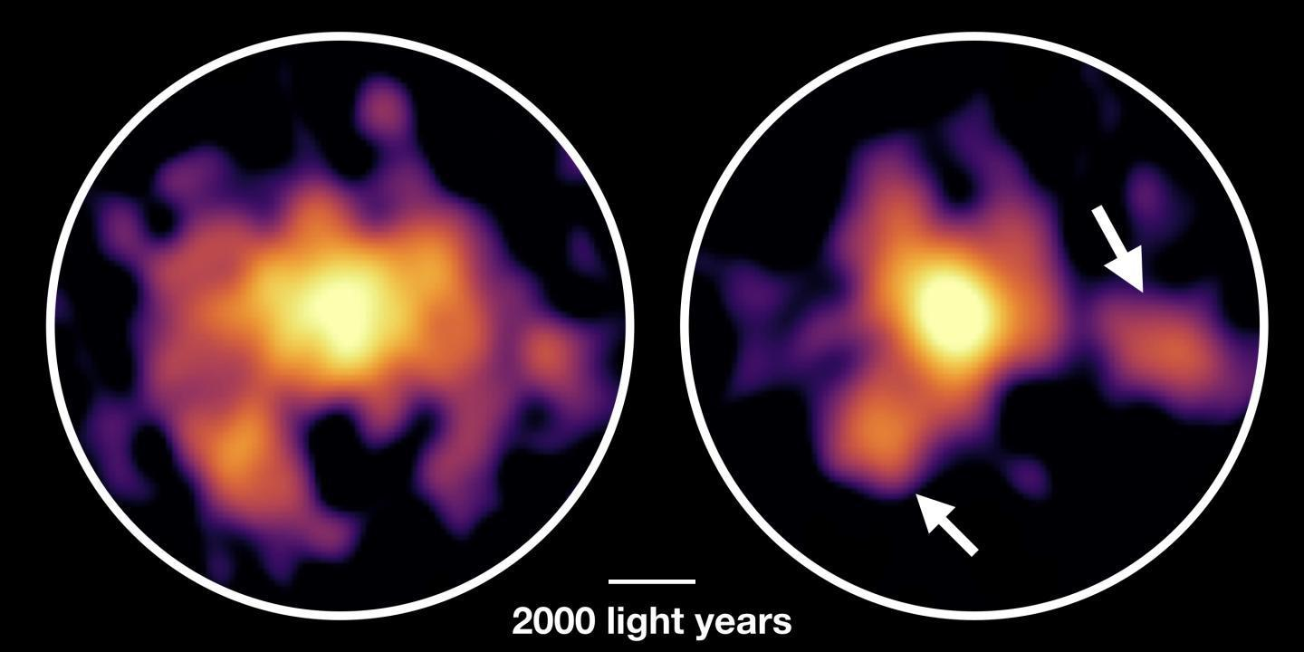 Monster galaxy COSMOS-AzTEC-1 observed with ALMA. Molecular gas is shown on the left and dust particles on the right.