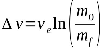 Classical rocket equation, also known as the Tsiolkovsky rocket equation after the Russian scientist that derived it.
