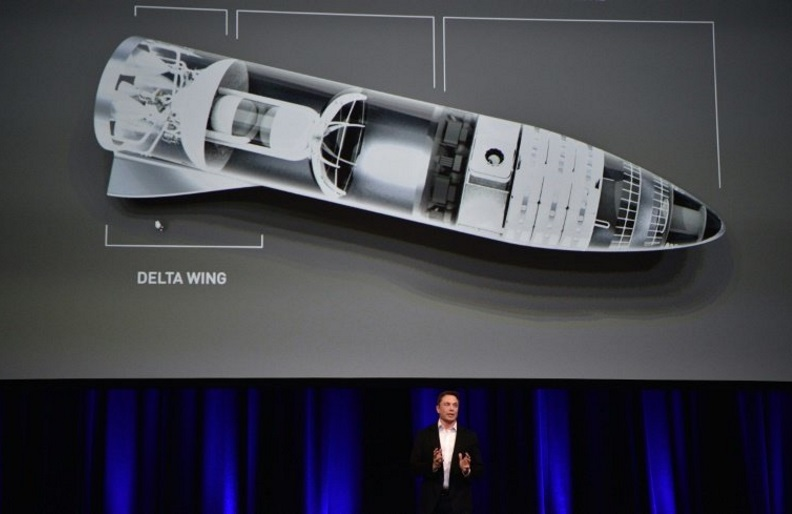 "Billionaire entrepreneur and founder of SpaceX Elon Musk, pictured in September 2017 speaking below a computer generated illustration of his new rocket, says he wants to enable space travel for ""everyday people"""