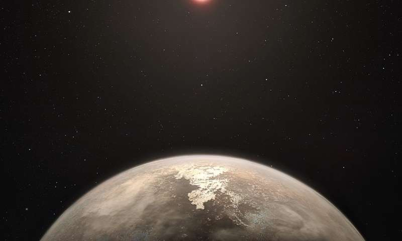 Artist's impression of a habitable exoplanet orbiting a red dwarf star. The habitability of the planets of red dwarf stars is conjectural.