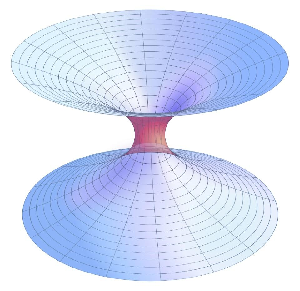 Exact mathematical plot of a Lorentzian wormhole. If one end of a wormhole is built out of positive mass/energy, while the other is built of negative mass/energy, the wormhole can become traversible.