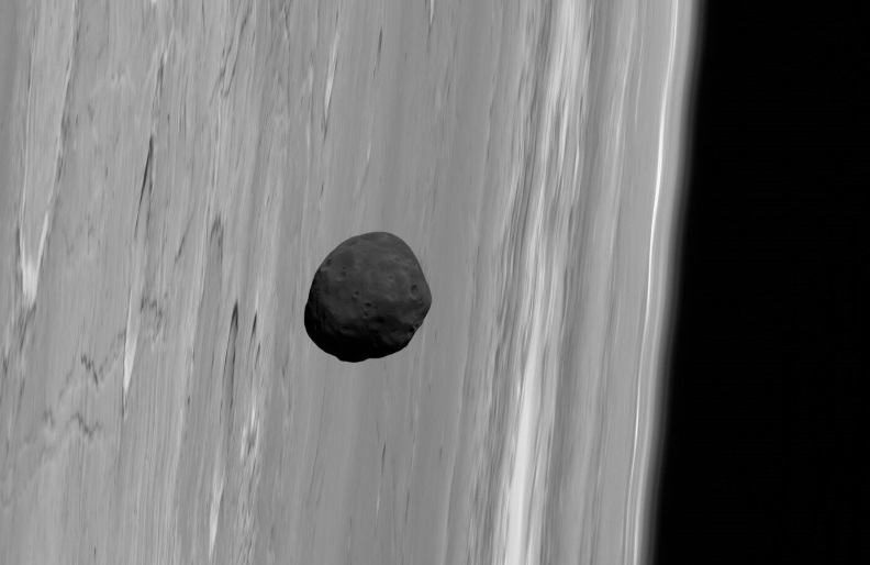 Phobos, the larger of Mars' two tiny satellites, pictured near the limb of Mars by the robot spacecraft Mars Express in 2010. Credit: G. Neukum (FU Berlin) et al., Mars Express,