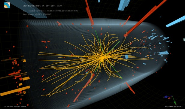 One of the collisions that revealed the fingerprints of the Higgs boson in 2011