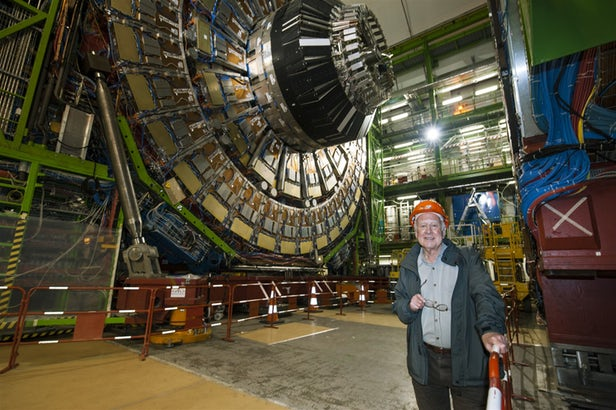 Physicist Peter Higgs, whom the Higgs boson is named after, visiting the LHC in 2008