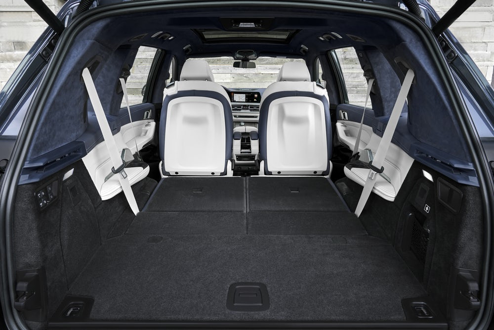 2019 BMW X7: huge trunk space with the seats folded forward