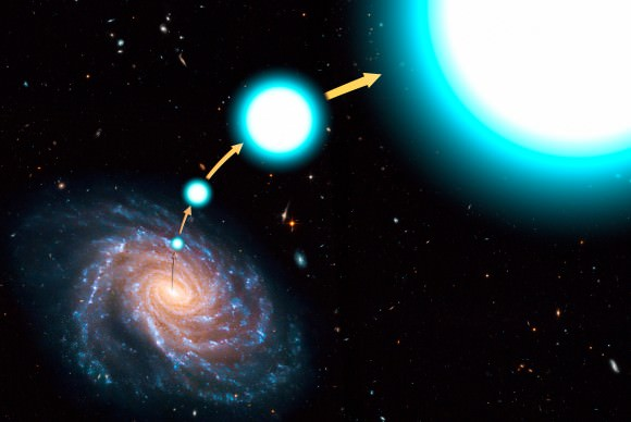 An artist's conception of a hypervelocity star that has escaped the Milky Way.