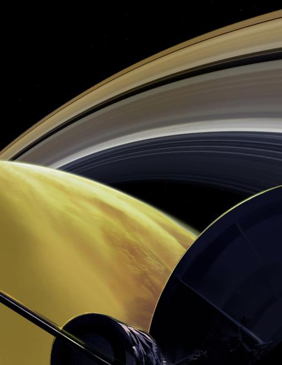 """An artist's depiction of the Cassini spacecraft's view as it completed the """"Grand Finale"""" of its mission in 2017."""