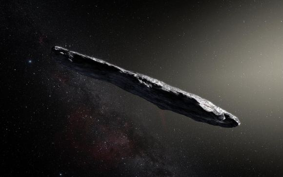 "Artist's impression of the first interstellar asteroid/comet, ""Oumuamua"". This unique object was discovered on 19 October 2017 by the Pan-STARRS 1 telescope in Hawaii."