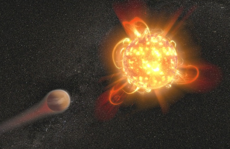 An artist's rendering of a red dwarf star, which could sterilize exoplanets with its intense radiation and frequent strong flares