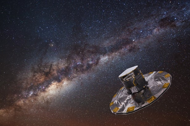 Artist's impression of Gaia mapping the Milky Way