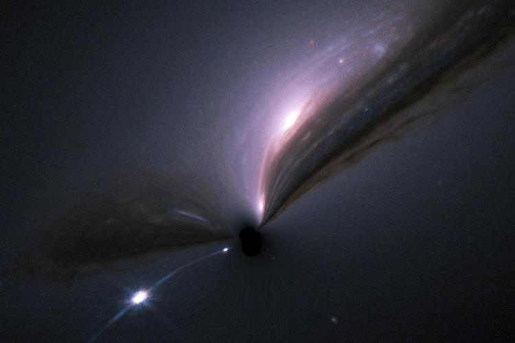 A supernova (bright spot at lower left) and its host galaxy (upper center), as they would appear if gravitationally lensed by an intervening black hole (center). The gravitational field of the black hole distorts and magnifies the image and makes both the galaxy and the supernova shine brighter. Gravitationally magnified supernovas would occur rather frequently if black holes were the dominant form of matter in the universe. The lack of such findings can be used to set limits on the mass and abundance of black holes.