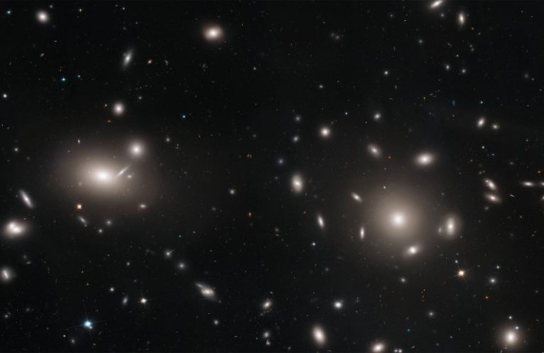 This is a Hubble Space Telescope mosaic of a portion of the immense Coma cluster of over 1,000 galaxies, located 300 million light-years from Earth.