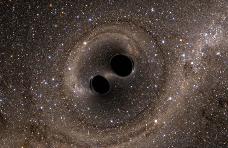 Artist's impression of two black holes merging.