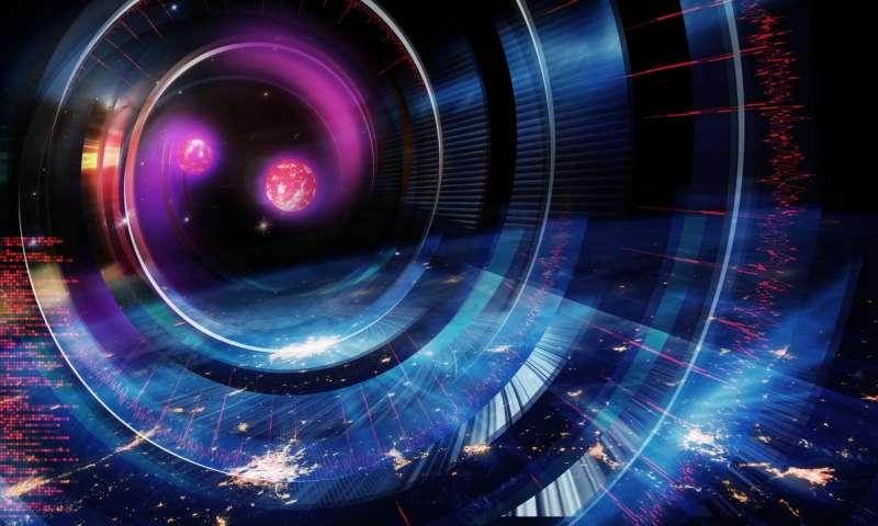 Artists impression of merging neutron stars.