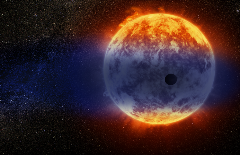 This artist's illustration shows a giant cloud of hydrogen streaming off a warm, Neptune-sized planet just 97 light-years from Earth.