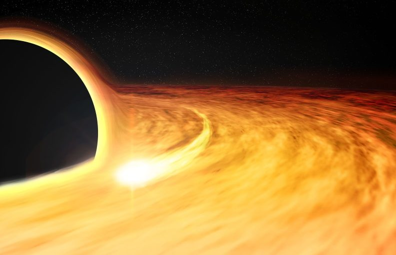 This artist's impression shows hot gas orbiting in a disk around a rapidly-spinning black hole. The elongated spot depicts an X-ray-bright region in the disk, which allows the spin of the black hole to be estimated.