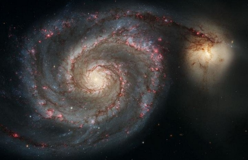 The Whirlpool Galaxy (M51a) and companion galaxy (M51b). This Hubble Space Telescope image represents a merger between two galaxies similar in mass to the Milky Way and the Large Magellanic Cloud.