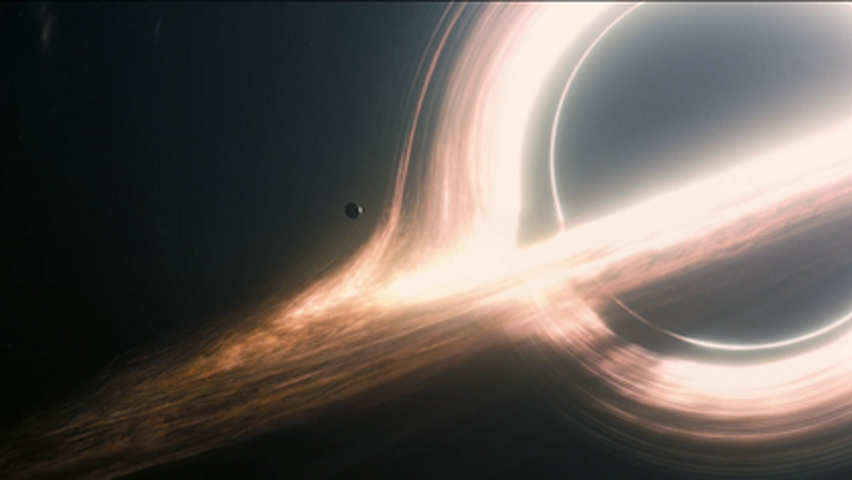 The fictional Miller's planet orbiting the black hole Gargantua, in the movie 'Interstellar.