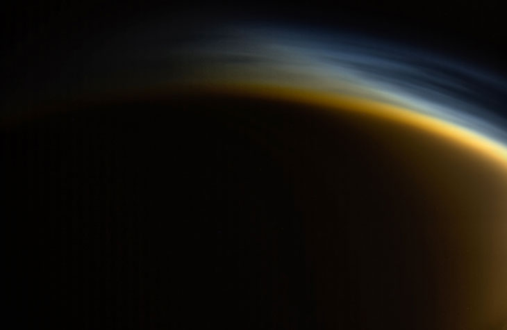 FROM THE INSIDE OUT Titan's atmosphere (individual layers of haze shown in this image from the Cassini spacecraft) is made mostly of nitrogen.