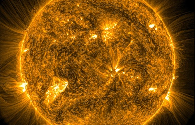 The Sun's corona - its outermost layer of atmosphere.