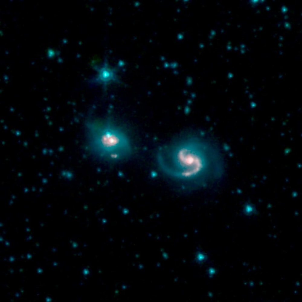 The merger of two galaxies, known as NGC 6786 (right) and UGC 11415 (left), also collectively called VII Zw 96