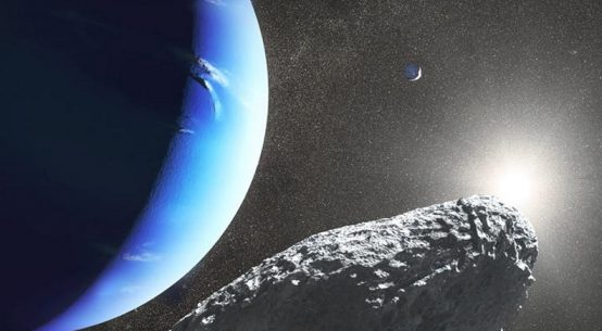 CHIP OFF THE OLD BLOCK A massive collision that left Neptune's second largest moon, Proteus (as seen in the background of this illustration) with a huge crater may have spawned its smallest moon, Hippocamp (foreground).