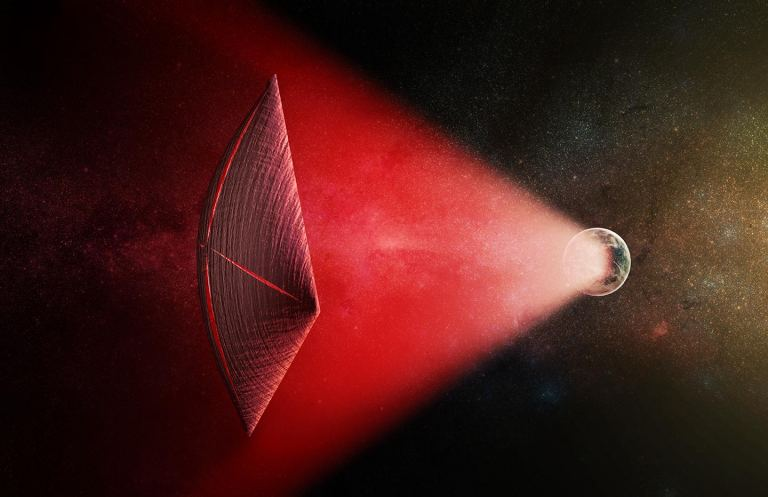 An artist's illustration of a light-sail powered by a directed-energy beam (red) generated on the surface of a planet. The leakage from such beams as they sweep across the sky would appear as errant flashes and indicating the possible existence of an ETI.