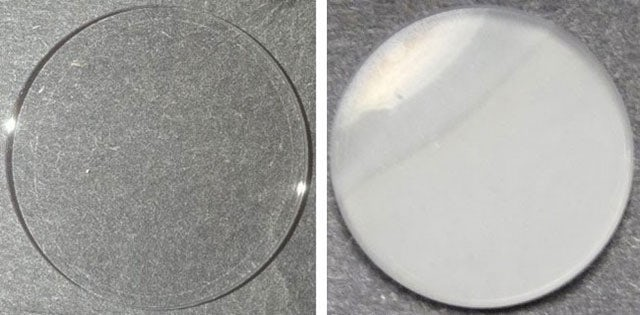 Aerosols formed in the atmospherical experiments (right) turn opaque, as compared to a clean dish