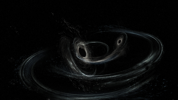 Artist's conception shows two merging black holes similar to those detected by LIGO on January 4th, 2017.
