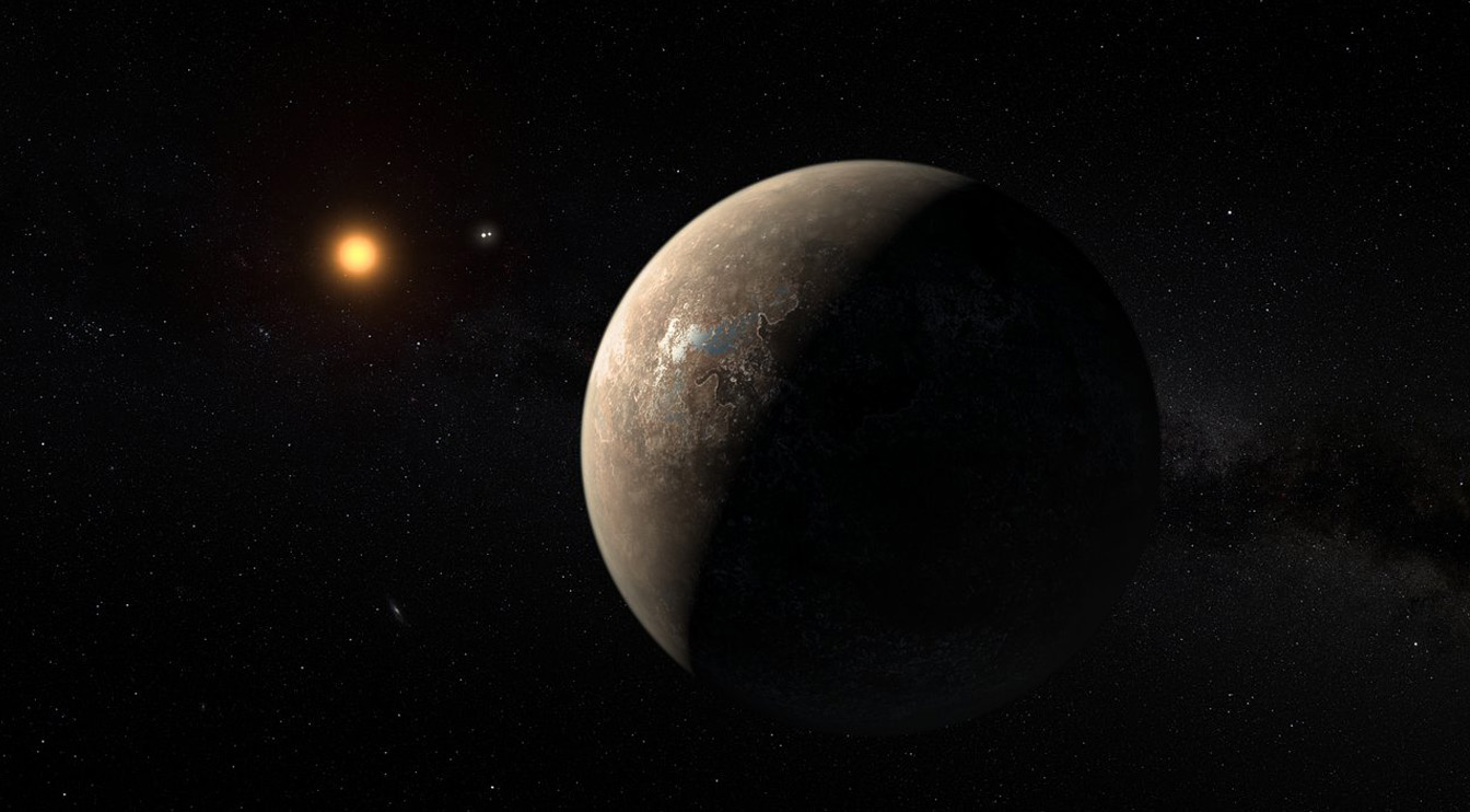 A less optimistic rendering of the planet Proxima b orbiting in the Goldilocks zone around the red dwarf star Proxima Centauri.