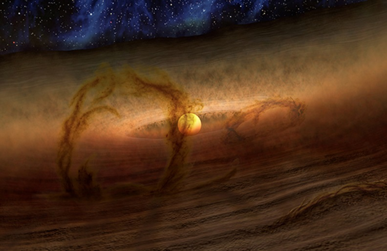Magnetic loops carry gas and dust above disks of planet-forming material circling stars, as shown in this artist's conception.