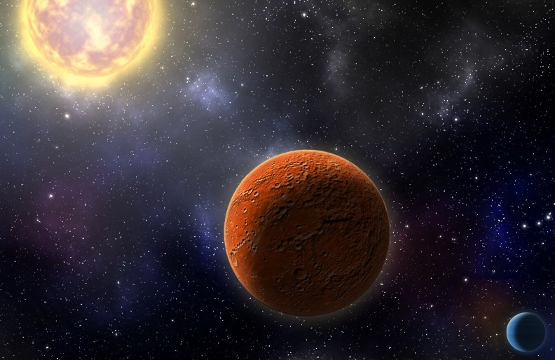 Artist's conception of HD 21749c, the first Earth-sized planet found by NASA's Transiting Exoplanets Survey Satellite (TESS), as well as its sibling, HD 21749b, a warm sub-Neptune-sized world.