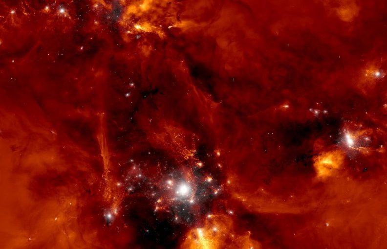Computer simulation of the formation of a proto-cluster of galaxies. Supermassive black holes may have had an important role in the formation of these structures in the early Universe.