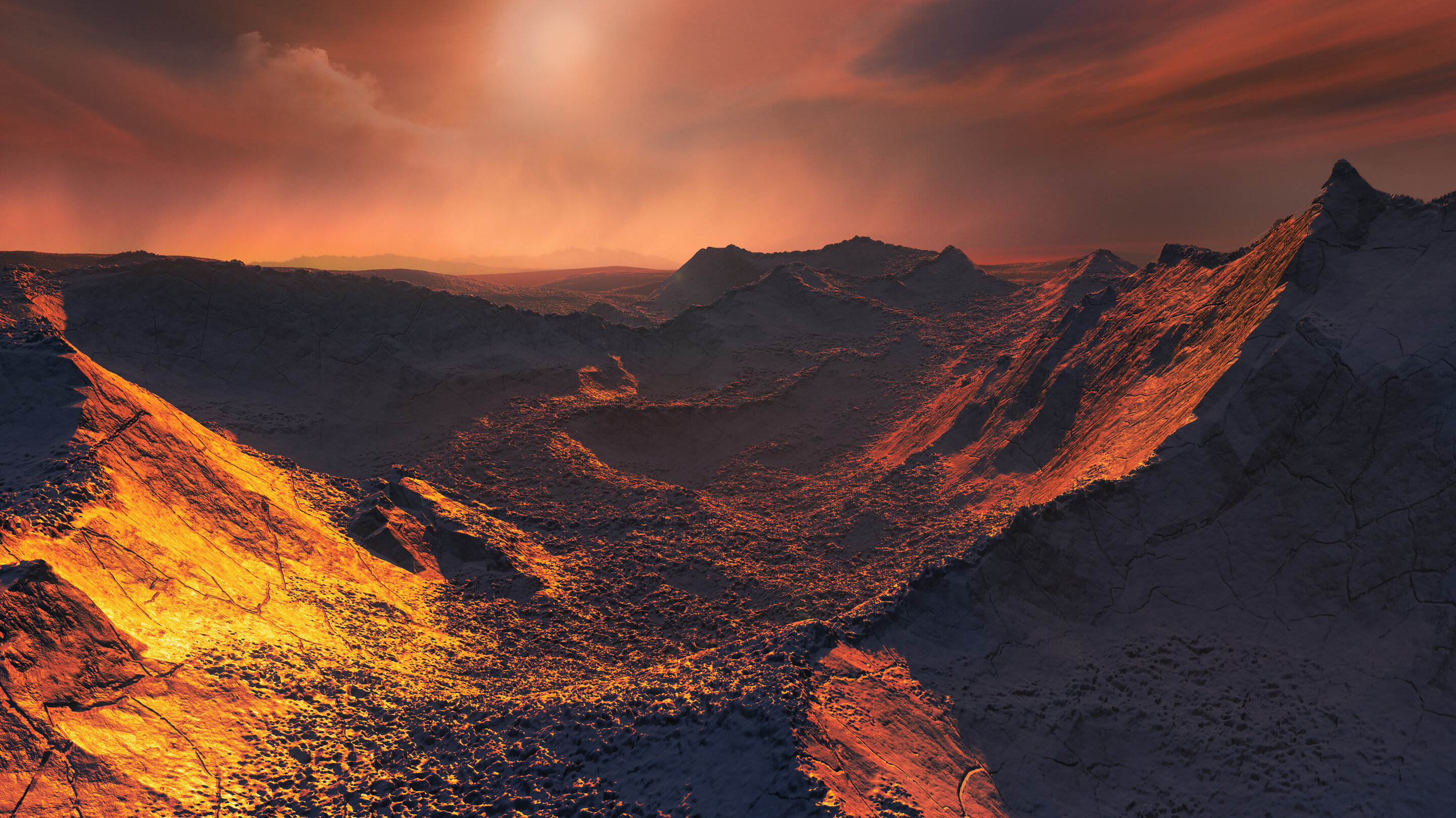 An artist's impression of the surface of the super-Earth Barnard's Star b