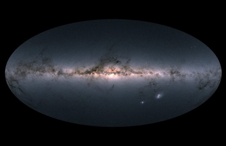 Gaia's all-sky-view, showing the clear center of the Milky Way and the galactic disc