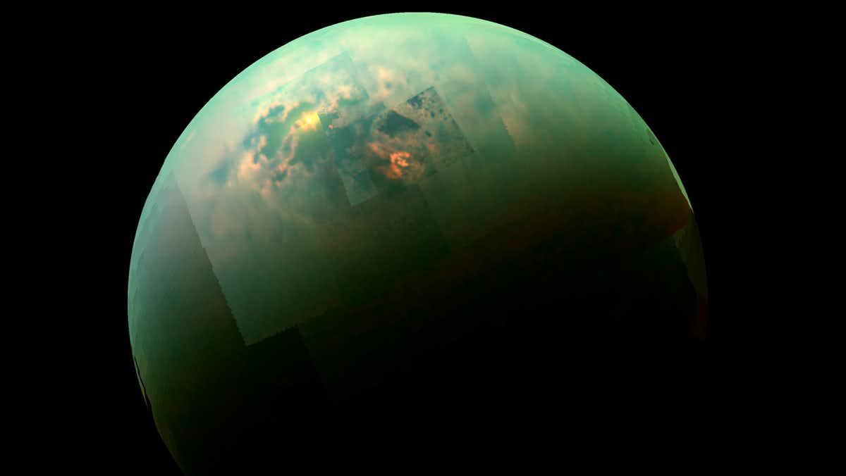 Titan imaged by Cassini.