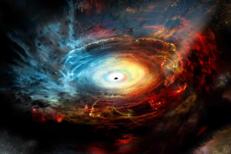 Illustration of a supermassive black hole surrounded by a debris disk.