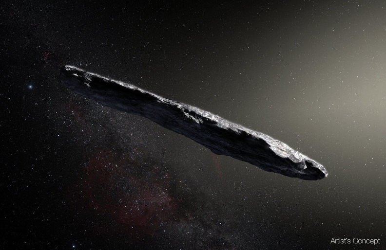 In this artist's concept, the interstellar object 'Oumuamua is depicted as a cigar-shaped body. A new analysis strongly suggests that 'Oumuamua has a natural origin and is not an alien spacecraft.
