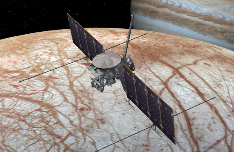 NASA says Europa Clipper, seen in this concept image, could be ready for launch as early as 2023