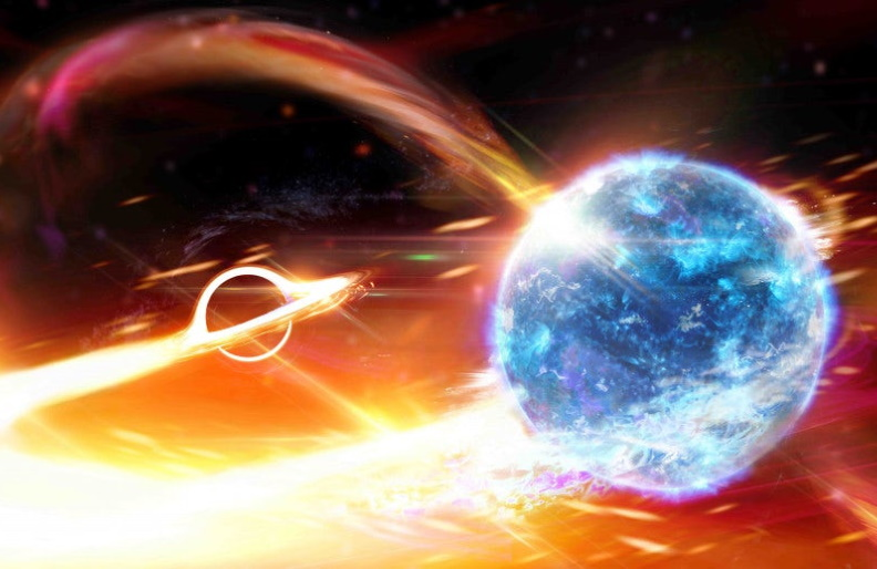 An artist's rendition of a black hole beginning to devour a neutron star