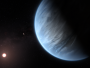 An artist's impression of the planet K2-18 b, its red dwarf host star, and another accompanying planet in the system.