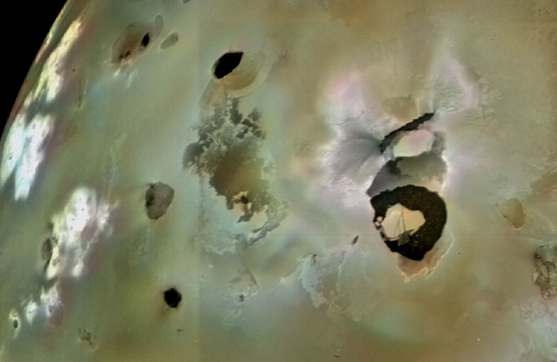 Loki Patera, an active lava lake, is the large shield-shaped black feature in this image of Jupiter's moon, Io.