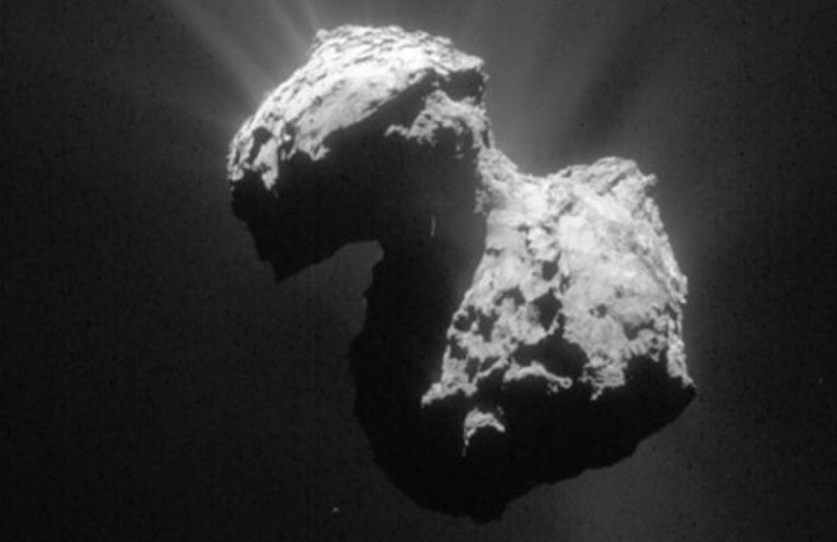 This single frame Rosetta navigation camera image of Comet 67P/Churyumov-Gerasimenko was taken on 7 July 2015 from a distance of 154 km from the comet centre.