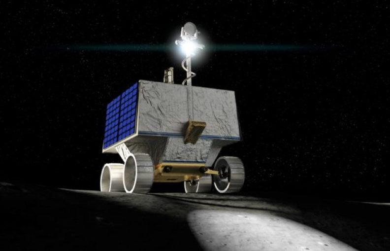 An artist's conception shows NASA's VIPER rover roaming the moon.