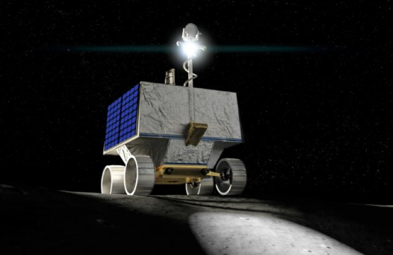 An artist's conception shows NASA's VIPER rover roaming the moon.